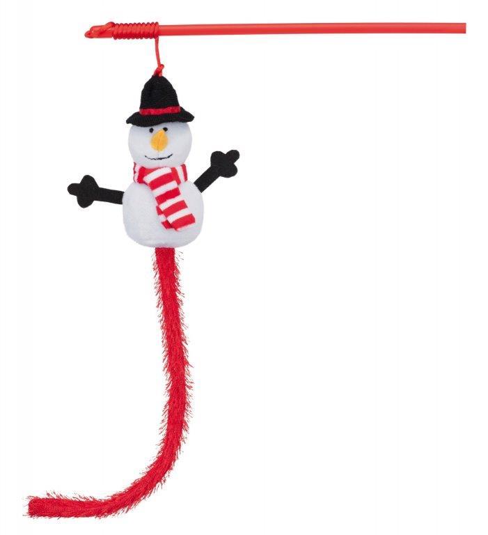 Игрушка для кошек TRIXIE удочка новогодняя Снеговик, 31см фото