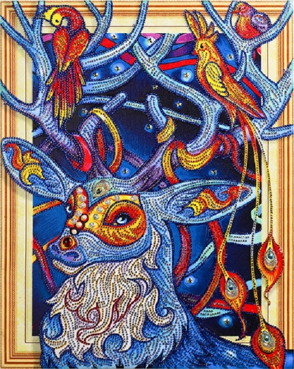 Сказочный олень- алмазная картина с фигурными стразами
