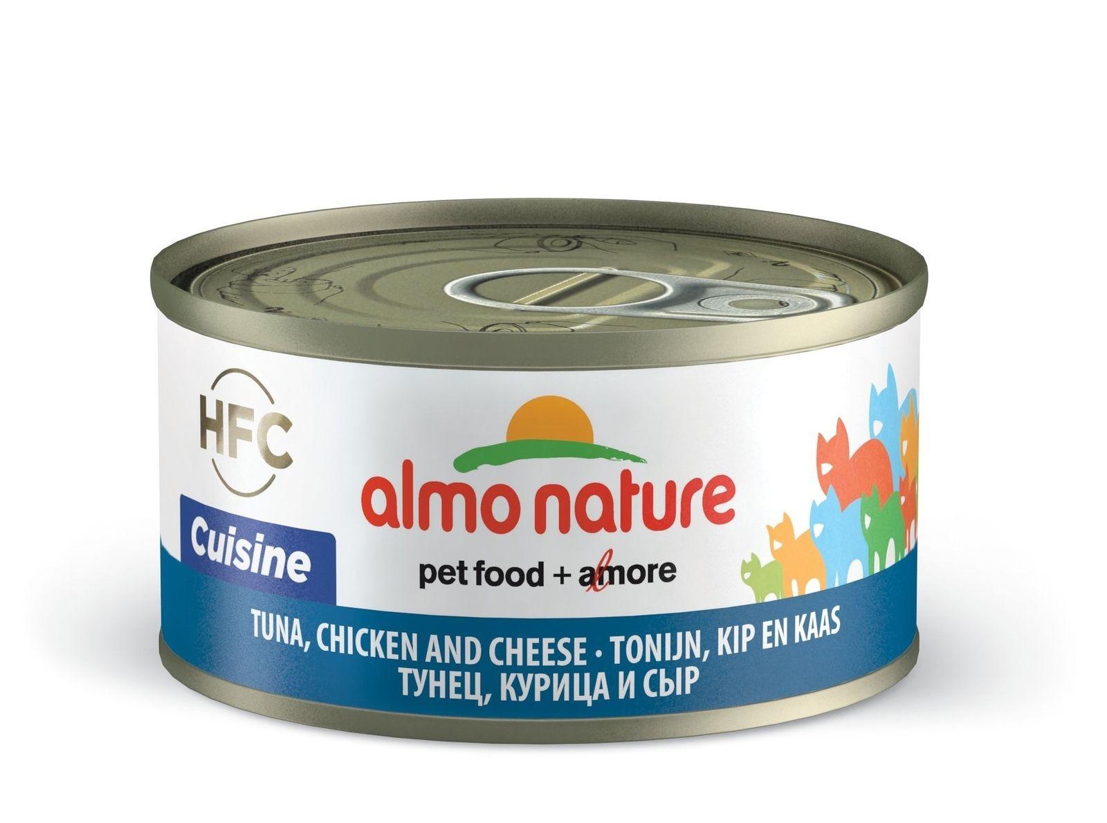 Консервы для кошек Almo Nature HFC Cuisine, курица, сыр, тунец, 70г