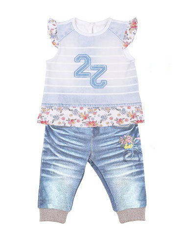 Купить Комплект одежды Папитто для девочки Fashion Jeans 521-04 голубой р.22-74, Комплекты для новорожденных