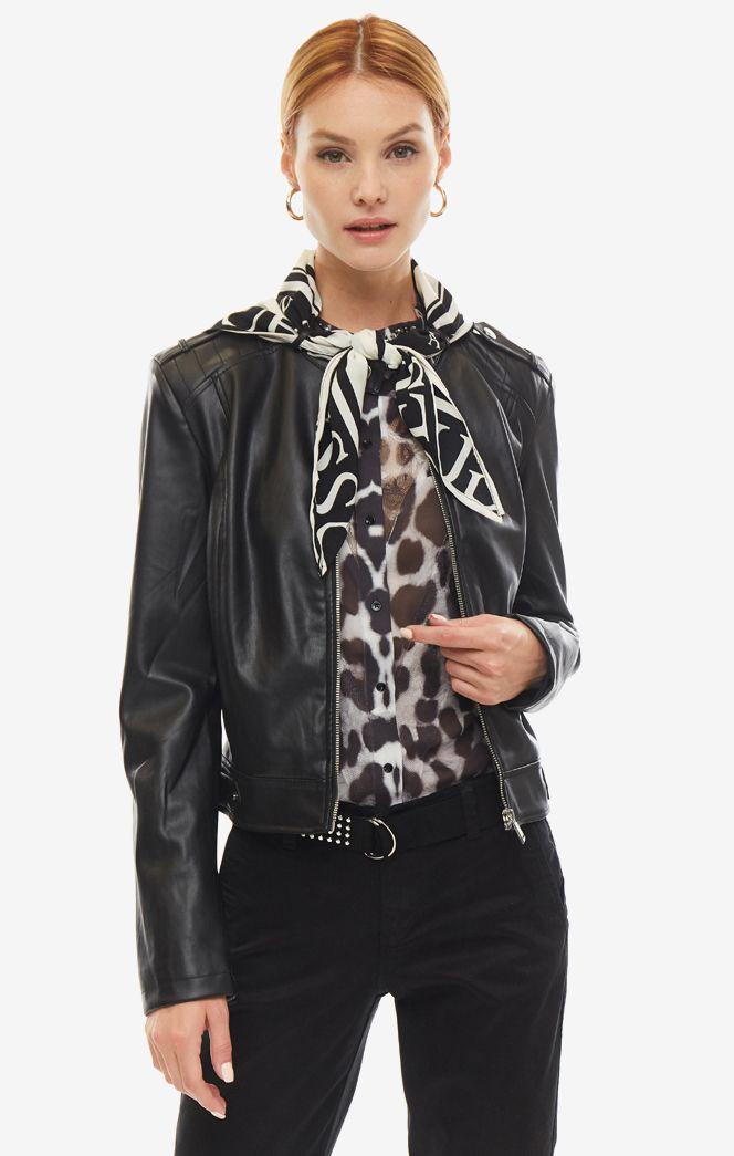 Кожаная куртка женская Guess W93L73-WAEI0-JBLK черная/белая XS