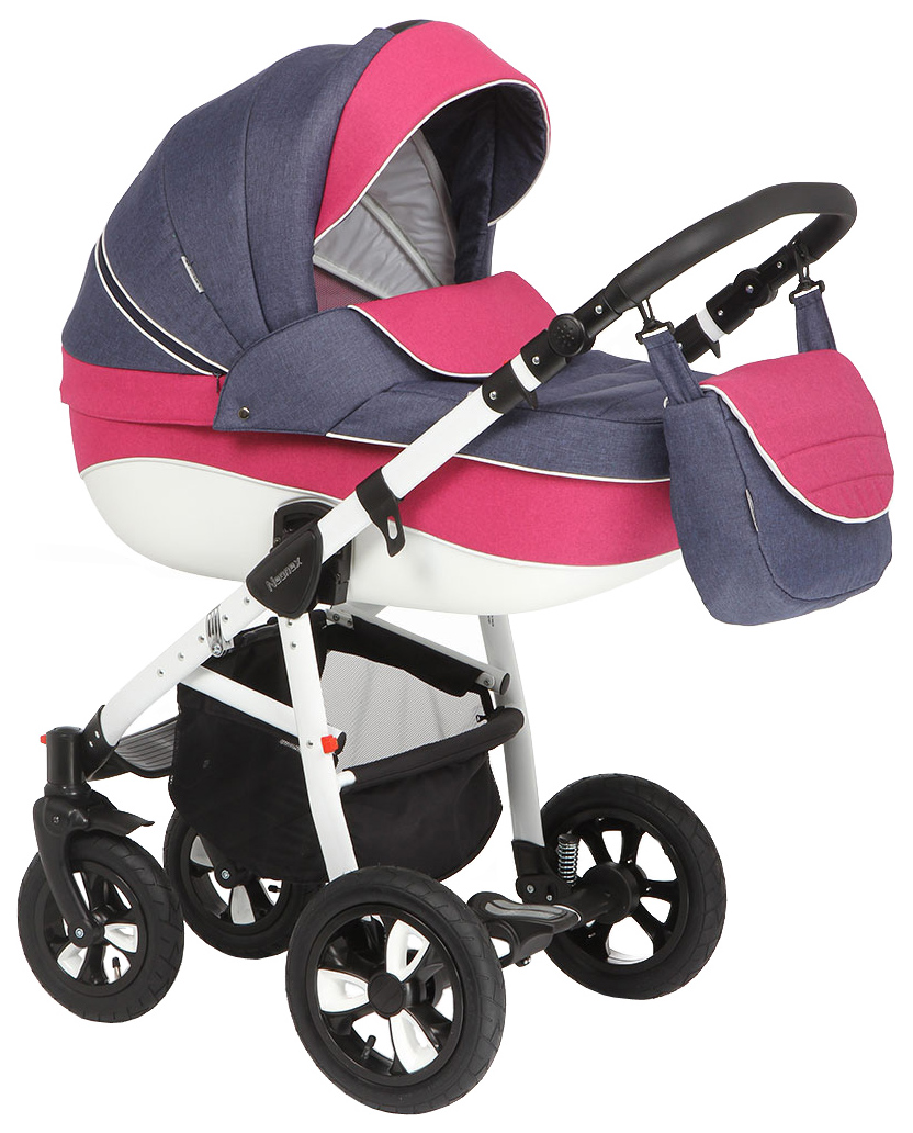 Купить Коляска 2 в 1 Adamex Neonex (синий, молочный, розовый), Детские коляски 2 в 1