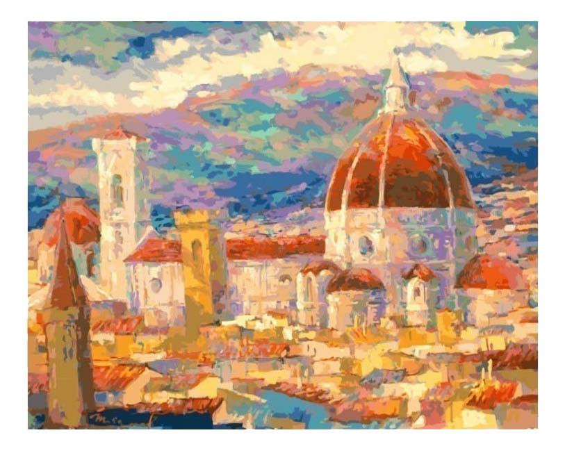 Раскраска по номерам Белоснежка Дождь над Флоренцией