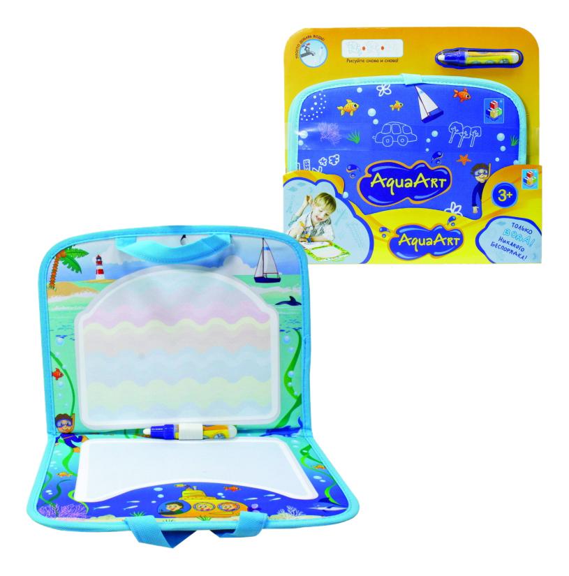 Игровой коврик для рисования 1 TOY AquaArt с ручками синий