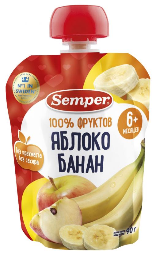 Купить Яблоко и банан 90 г, Пюре фруктовое Semper Яблоко и банан с 6 мес 90 г, Детское пюре