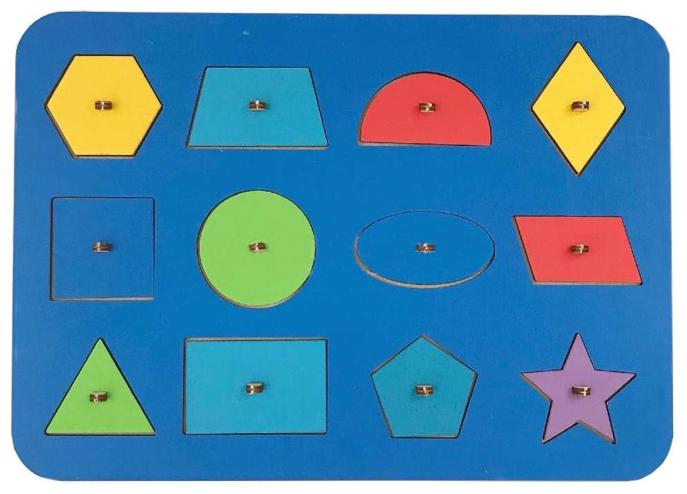 Развивающая игрушка Woodland Рамка-вкладыш Монтессори геометрия 1 82101 в ассортименте фото