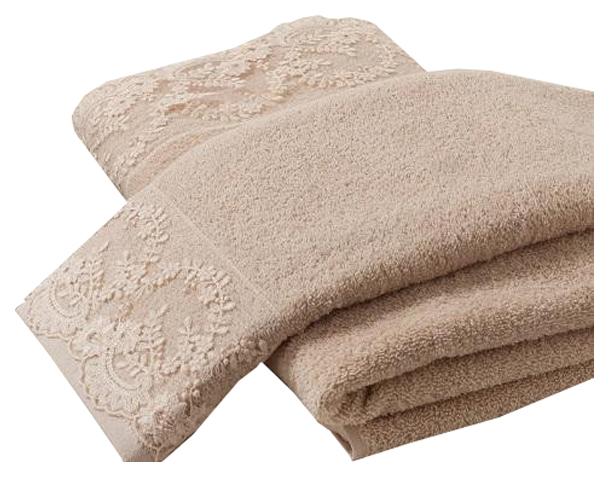 Комплект полотенец Karna Elinda Бежевый, 50х90 см +70х140 см