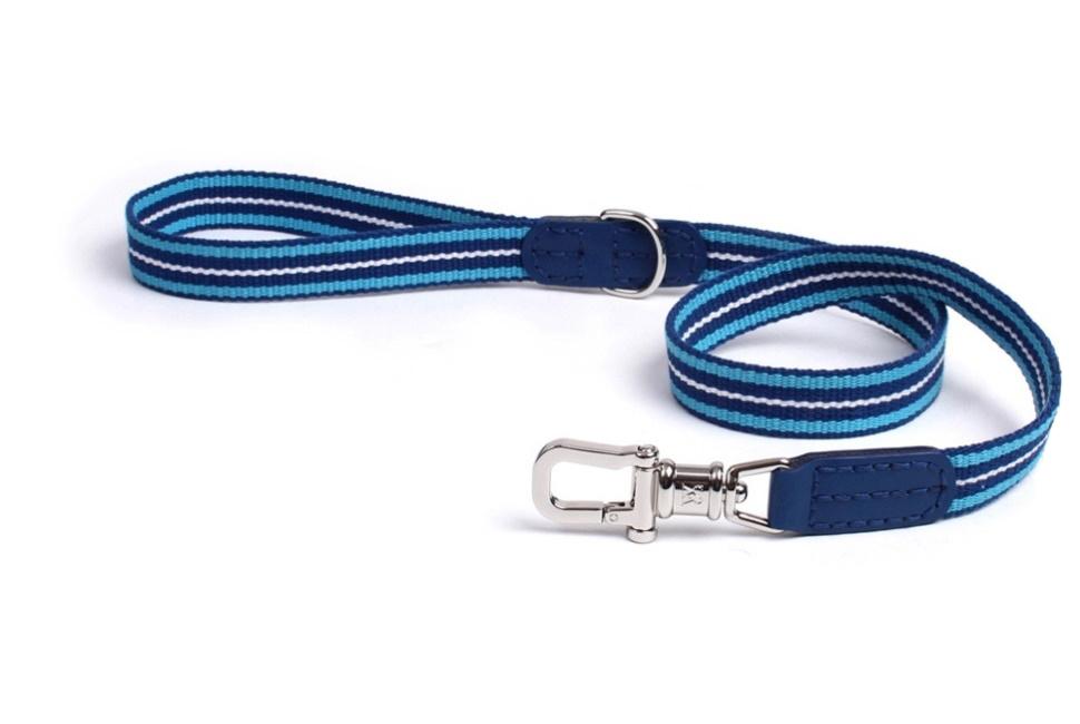 Поводок для собак W&S Albion, комбинированный, кожа/тесьма, темно-синий, S