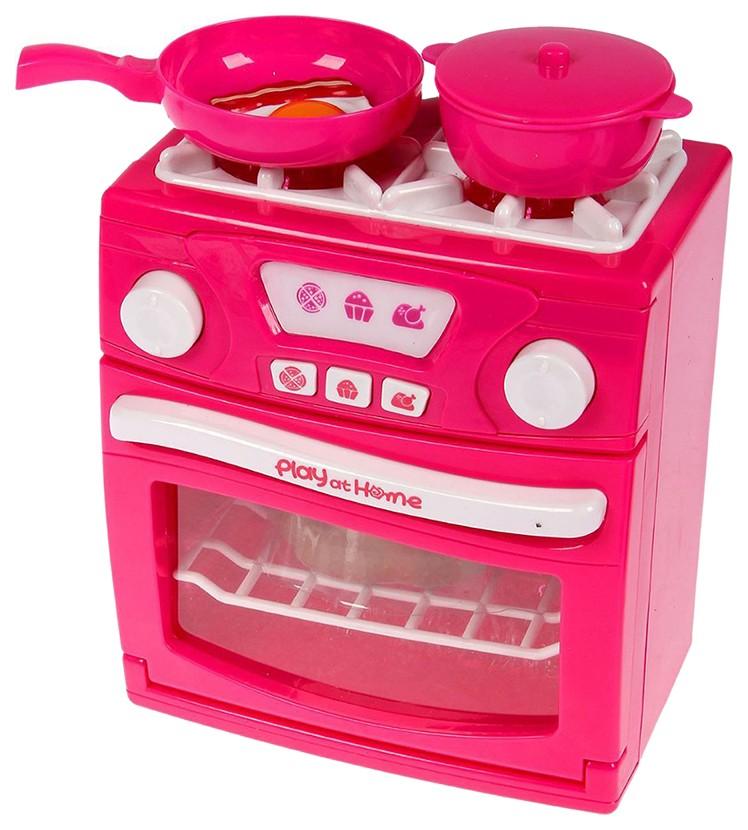 Купить Игровой набор Play At Home - Газовая плита с аксессуарами (свет, звук), NoBrand, Детская кухня и аксессуары