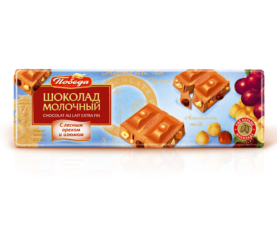 Шоколад Победа Вкуса молочный с орехом и изюмом фото
