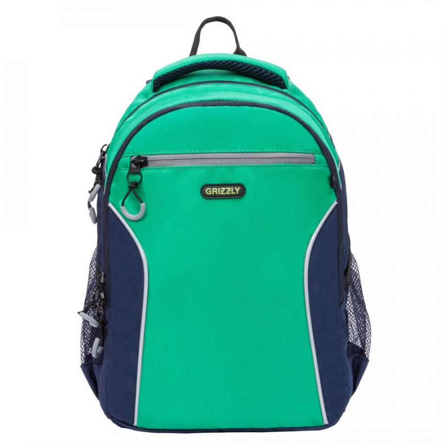 Школьный Рюкзак для мальчика Grizzly Rb-963-1 Зеленый - Т.Синий