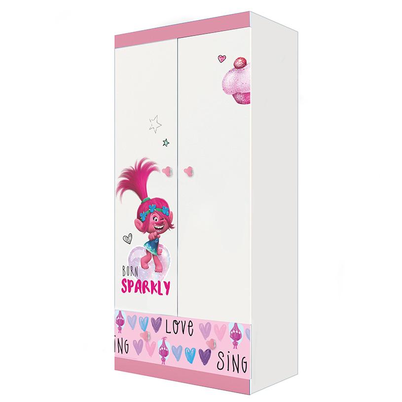 Купить Детский шкаф двухсекционный Polini kids Fun 890 Тролли, розовый, Шкафы в детскую комнату