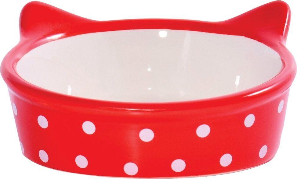 Миска для кошек КерамикАрт Мордочка кошки, керамическая, красная в горошек, 250мл