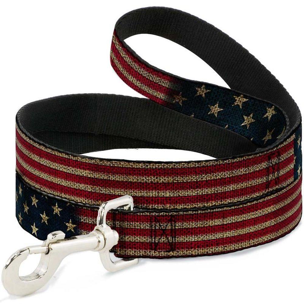 Поводок для собак Buckle-Down Флаг США, полиэстер, сталь, разноцветный, 120 см фото