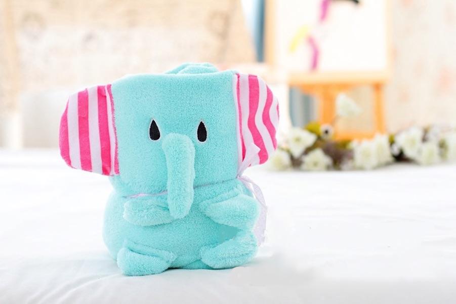 Купить Плед-игрушка слоник бирюзовый 100х80 см, Плед-игрушка Слоник Бирюзовый 100х80 см, Beitalun, Детские пледы
