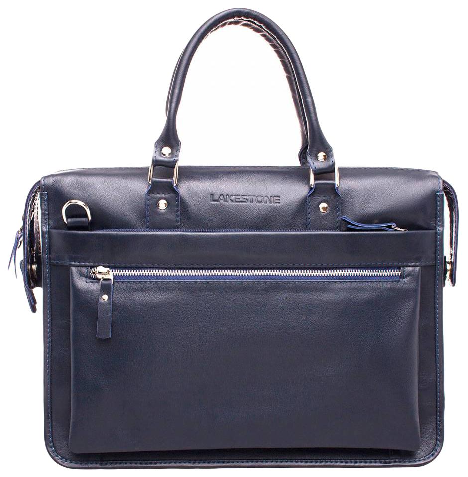 Портфель мужской кожаный Lakestone Halston синий фото