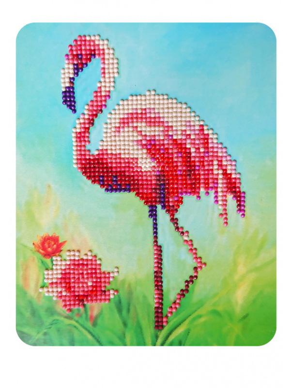 Розовый фламинго- алмазная картина
