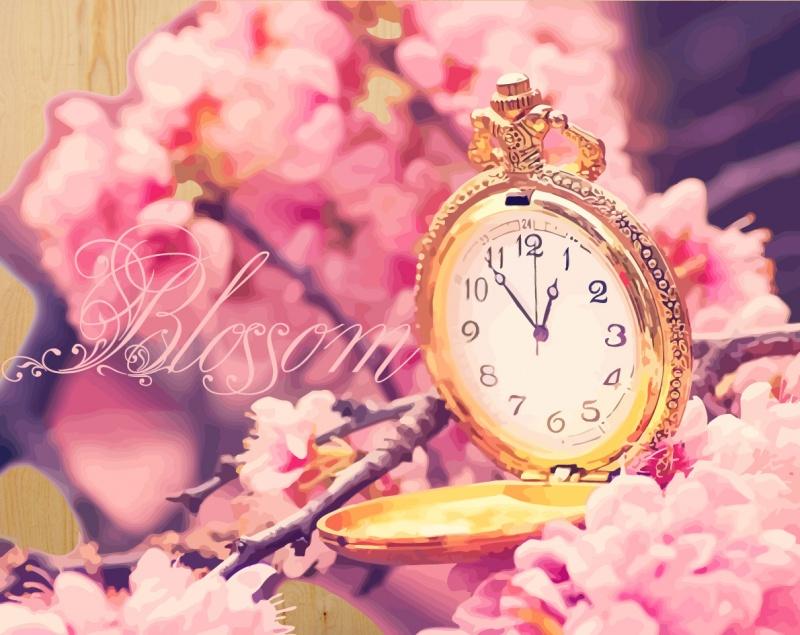 Время цветения сакуры- картина по номерам на дереве