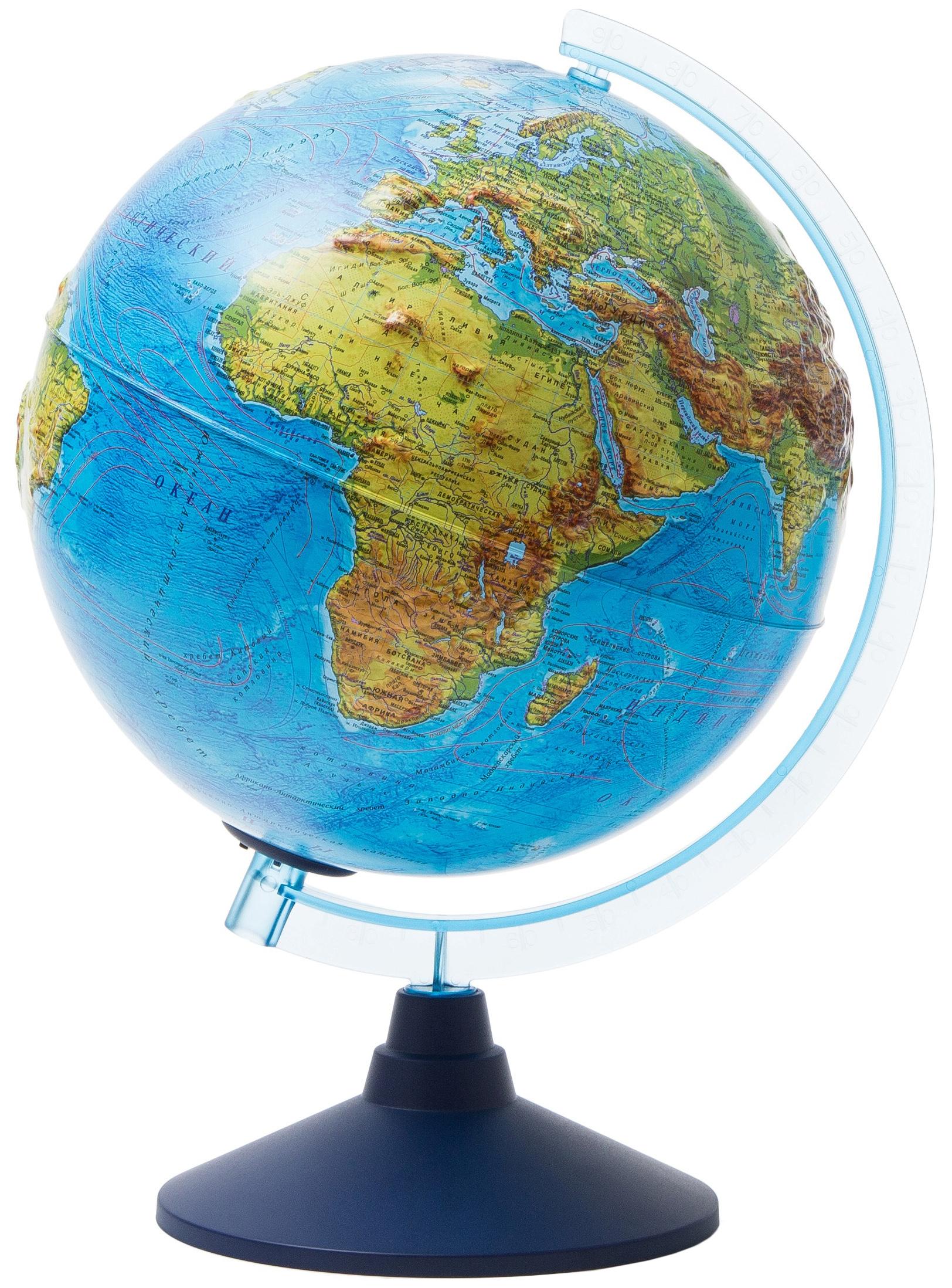 Глобус Globen Интерактивный физико-политический с подсветкой (батарейки) рельефный d=320