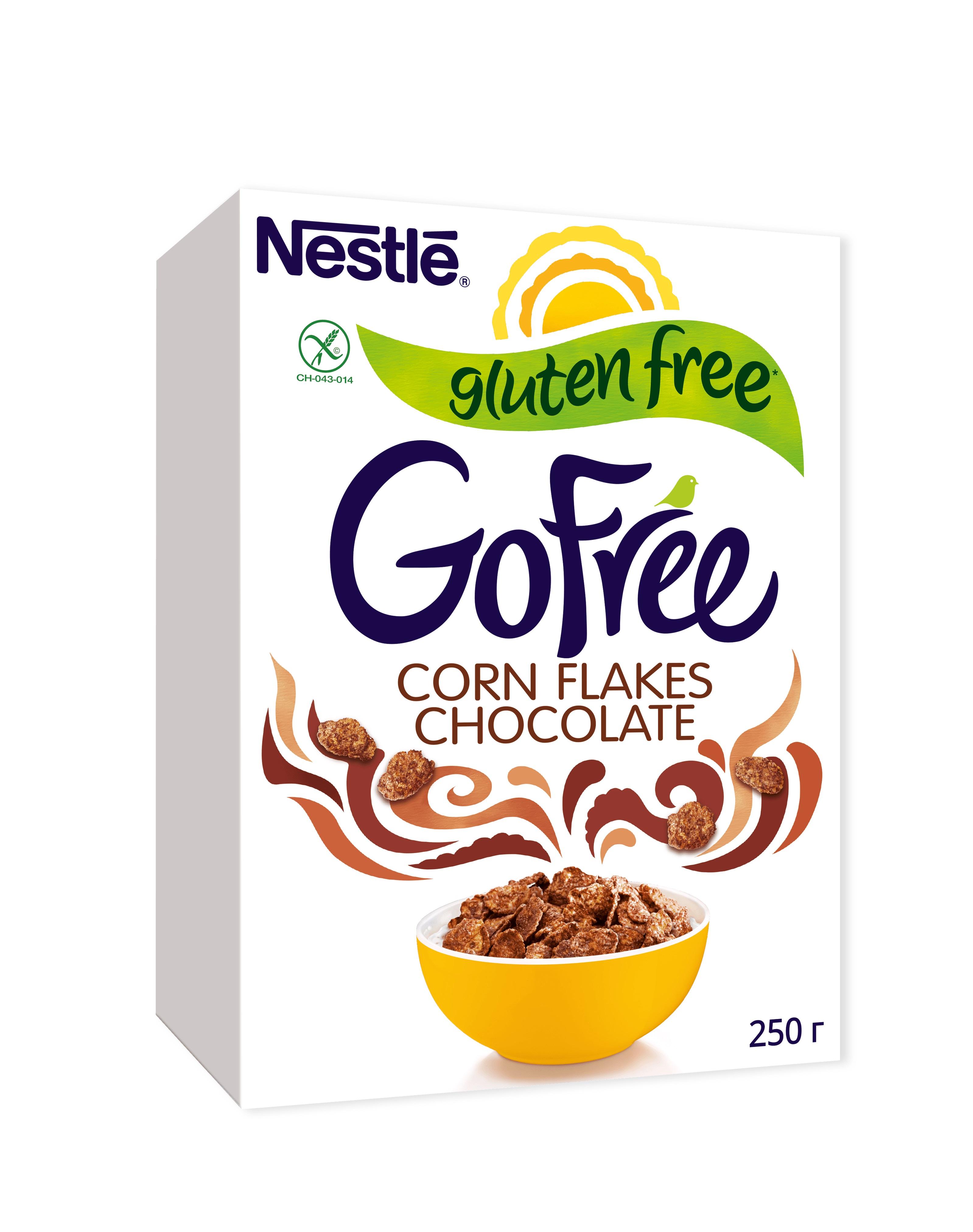 Хлопья кукурузные шоколадные Nestle Gofree обогащенные витаминами 250 г