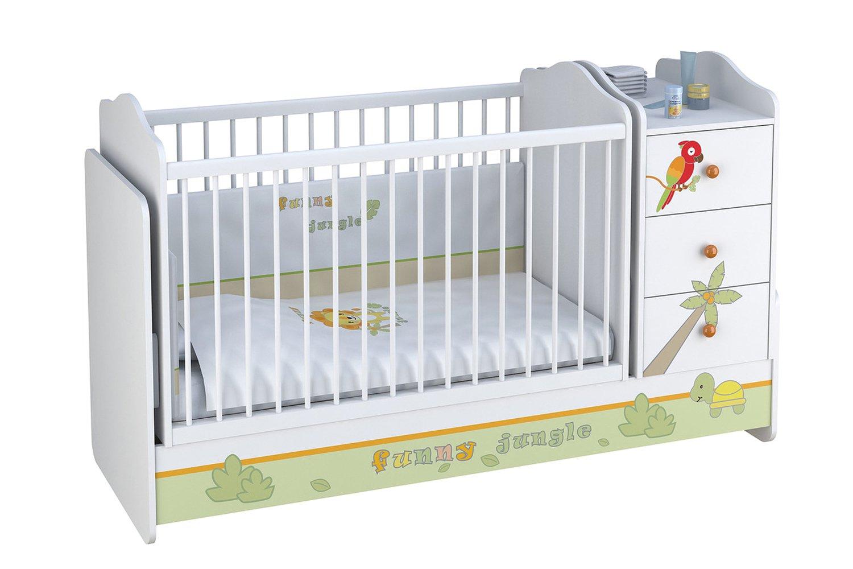 Кровать трансформер Polini Basic Джунгли с комодом,