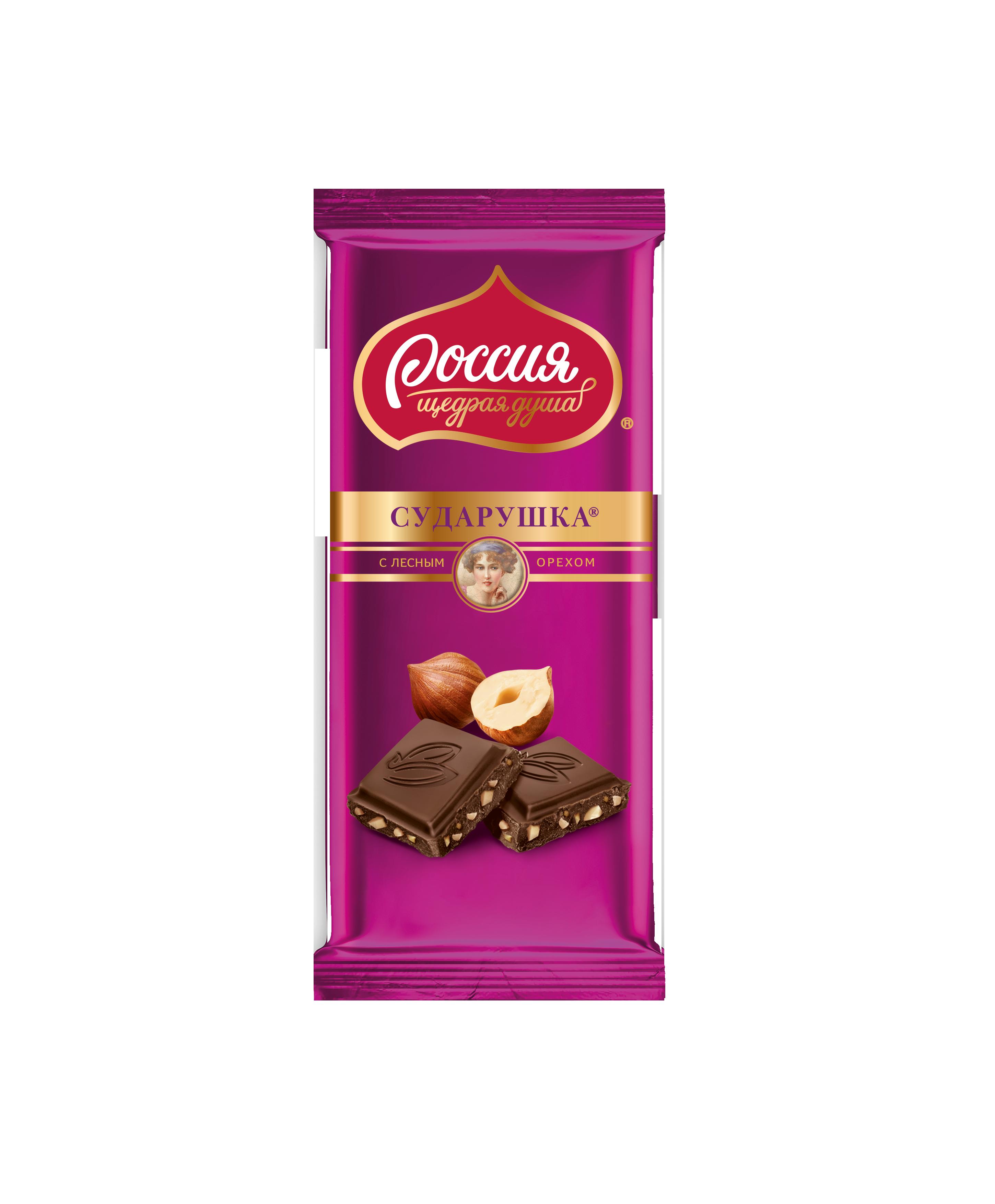 Шоколад Сударушка молочный с дробленым фундуком 90 г