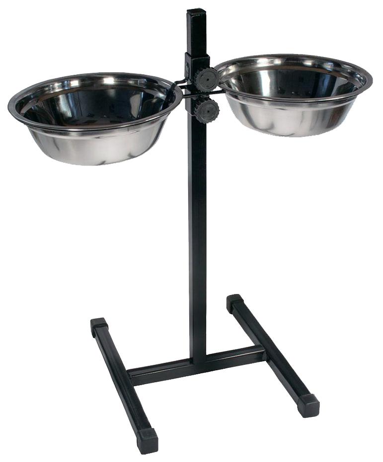 Двойная миска для собак Дарэлл, сталь, серебристый,