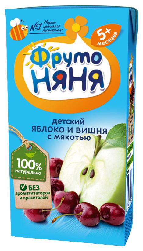 Купить Яблоко и вишня с мякотью 200 мл, Нектар ФрутоНяня Яблоко и вишня с мякотью с 5 мес 200 мл, Детские напитки