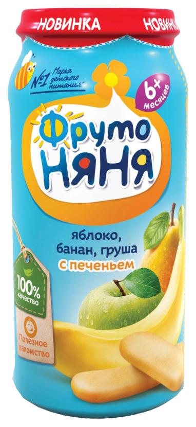 Купить Яблоко, банан, груша с печеньем 250 г, Пюре фруктовое ФрутоНяня Яблоко, груша с печеньем с 6 мес 250 г, Детское пюре