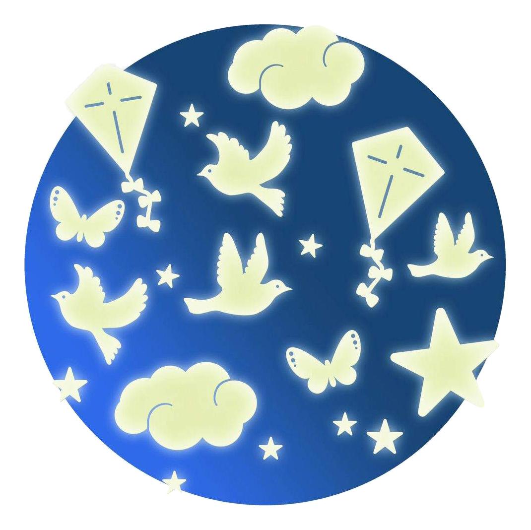 Купить Наклейка декоративная для детской комнаты Djeco Птички свет в темноте, Аксессуары для детской комнаты