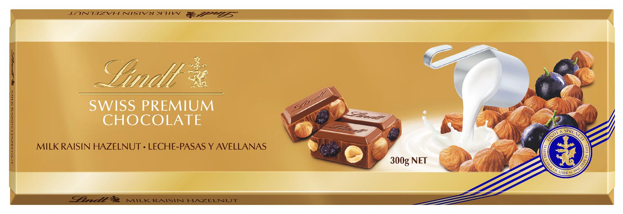 Шоколад молочный Lindt с изюмом и фундуком 300 г
