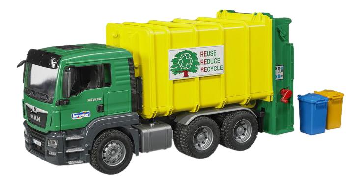 Купить Мусоровоз MAN TGS зеленый/желтый Bruder (Германия) 03-764, Игрушечный транспорт Bruder