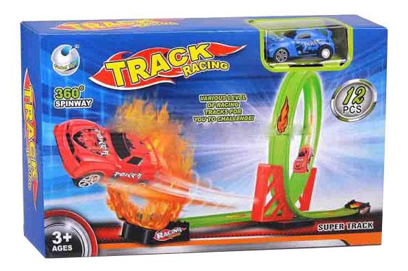 Купить Гоночный трек racing с мертвой петлей 12 деталей В86583, Гоночный трек Racing с мертвой петлей 12 деталей Gratwest В86583, Детские автотреки