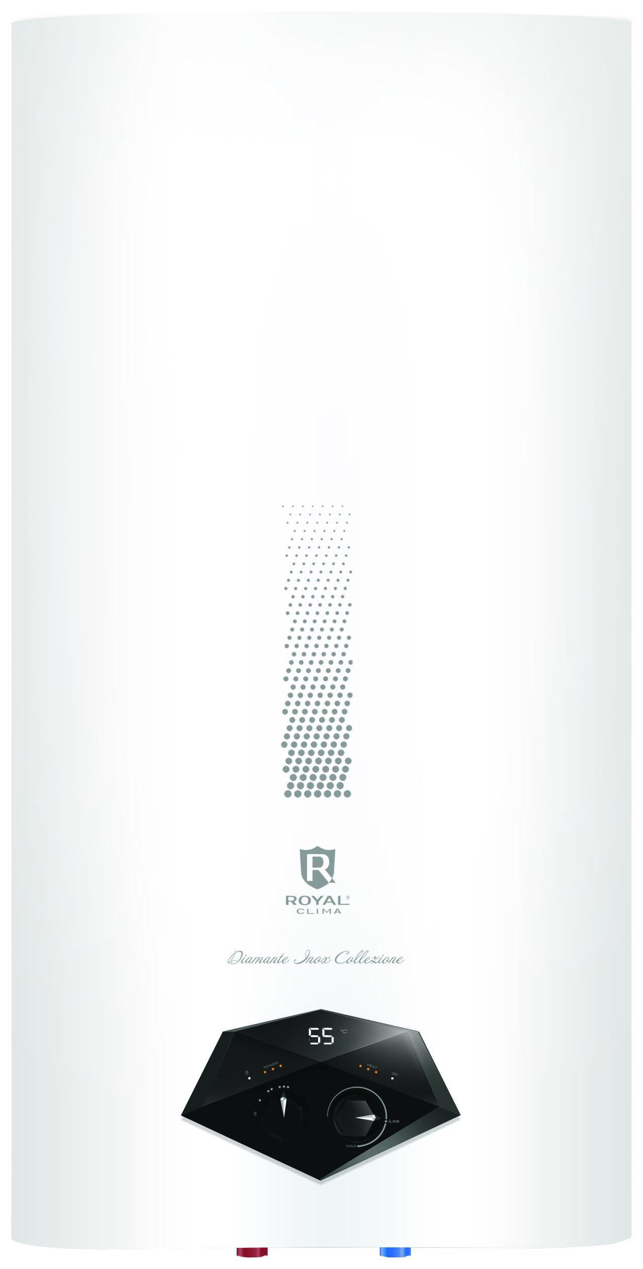 Водонагреватель накопительный ROYAL Clima Diamante Inox Сollezione RWH-DIC80-FS white
