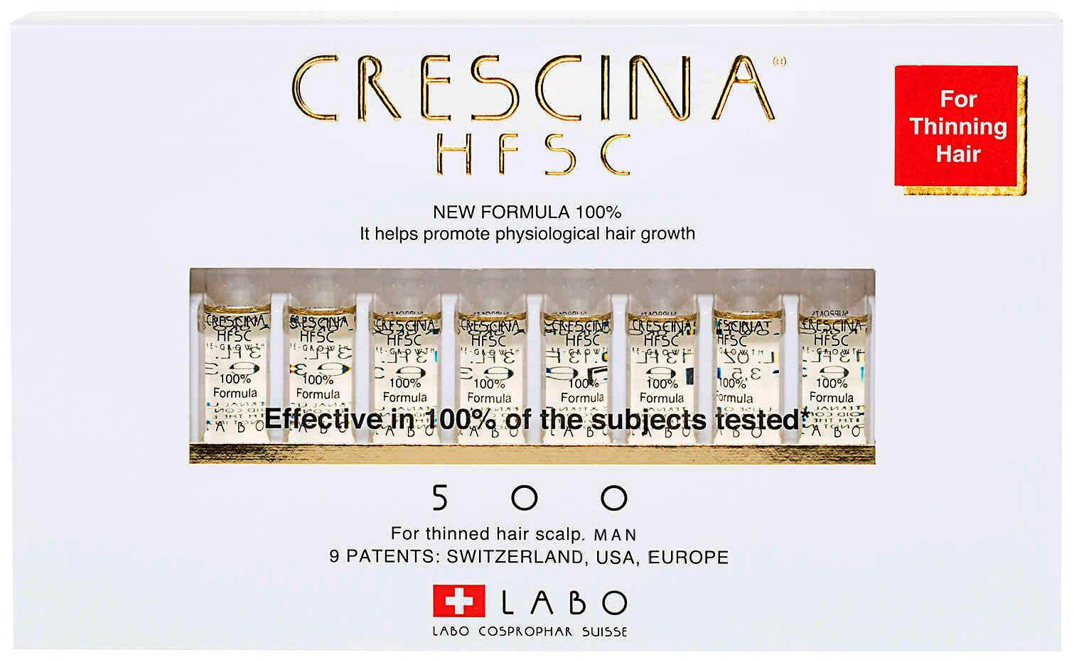 Купить Ампулы для волос Crescina 500 для стимулирования роста волос для мужчин №20, 500 HFSC 100% для стимулирования роста волос для мужчин