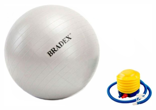 Мяч гимнастический Bradex Фитбол-65 с насосом, серый, 65 см фото