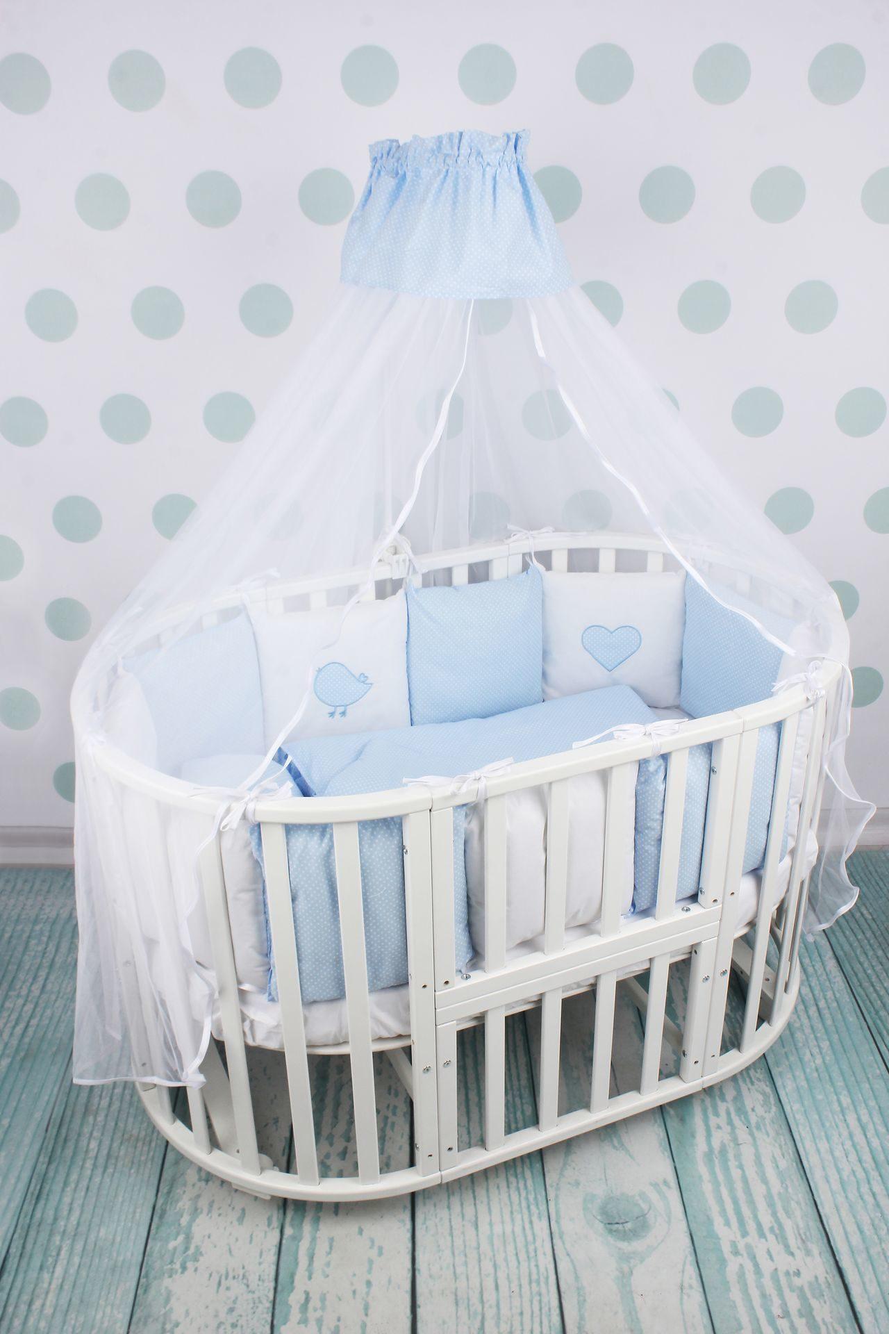 Комплект Premium в кроватку 18 предметов (6+12 бортиков) AmaroBaby КРОХА (голубой)