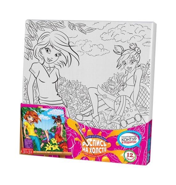 Купить Набор для творчества Роспись на холсте - Девочки, 31 x 31 см Данко Тойс / Danko Toys, Наборы для рисования