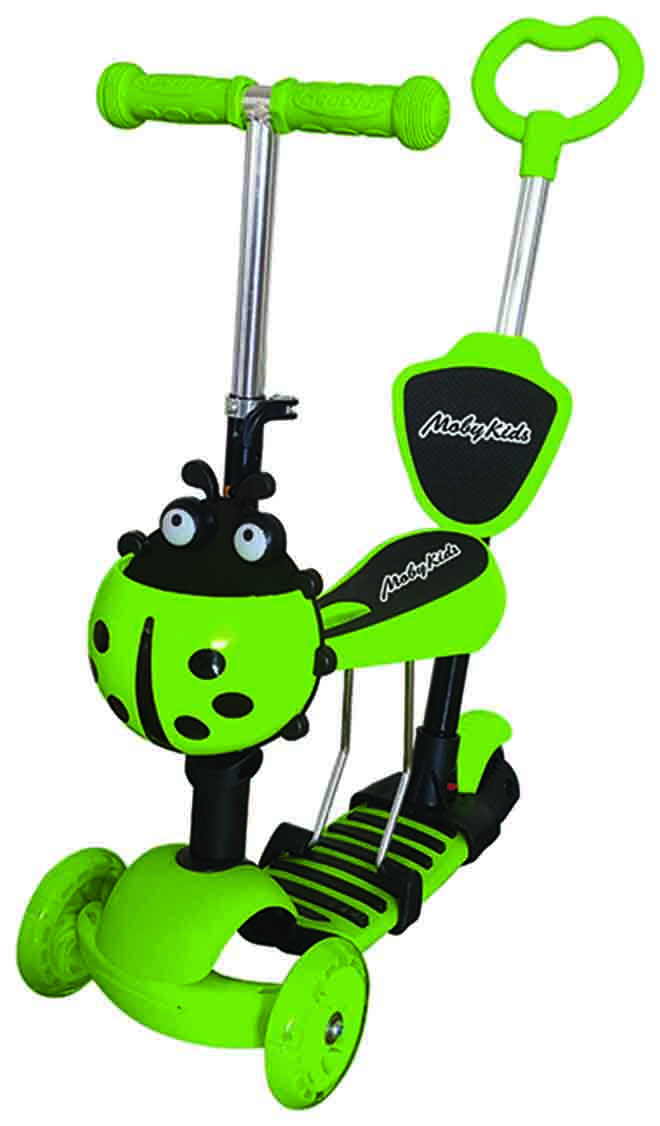 Купить Самокат MobyKids Божья коровка 3 в 1, свет. кол., зеленый, Moby Kids, Самокаты-беговелы