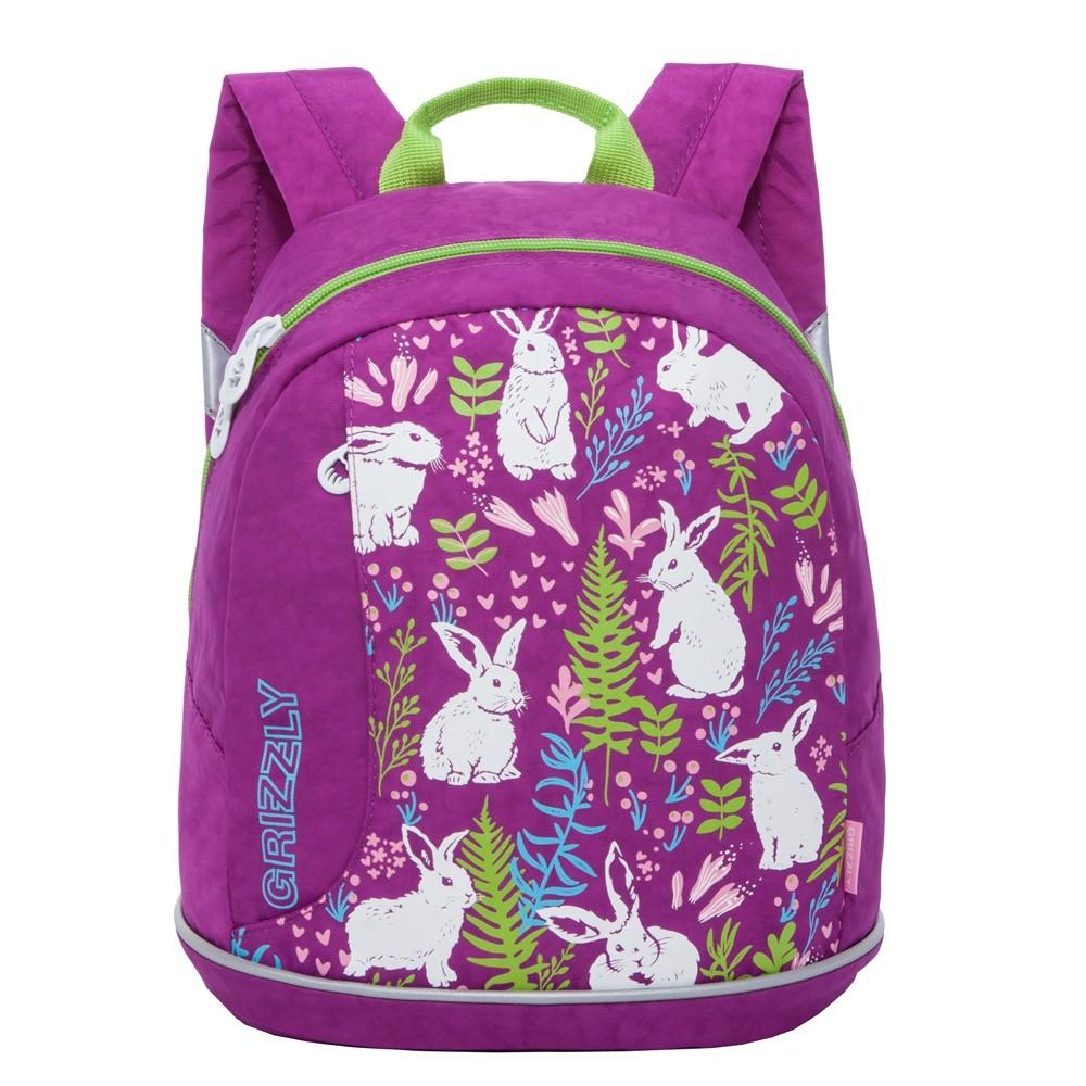 Купить Дошкольный рюкзак для девочки Grizzly фиолетовый с зайчиками, Детские рюкзаки