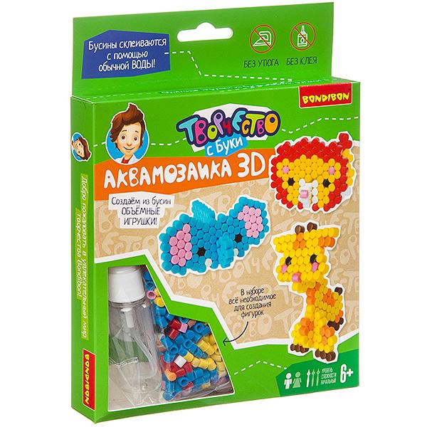 Купить Набор для творчества Аквамозаика 3D. Слон, лев, жираф , Bondibon, Мозаики