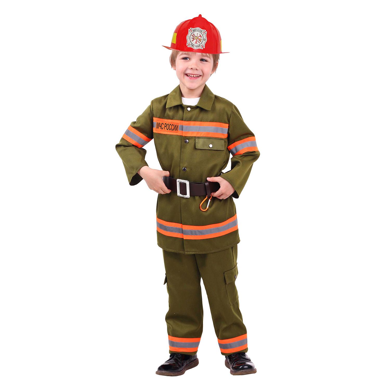 Купить 7002, Карнавальный костюм Батик Пожарный, цв. зеленый р.134,