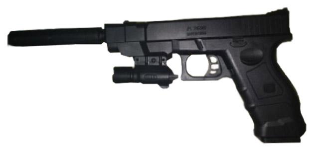 Пистолет Shantou Gepai пневматический, с лазерным прицелом и глушителем 1B01505