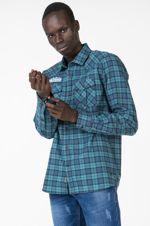 Рубашка мужская Baon B668512 зеленая XL