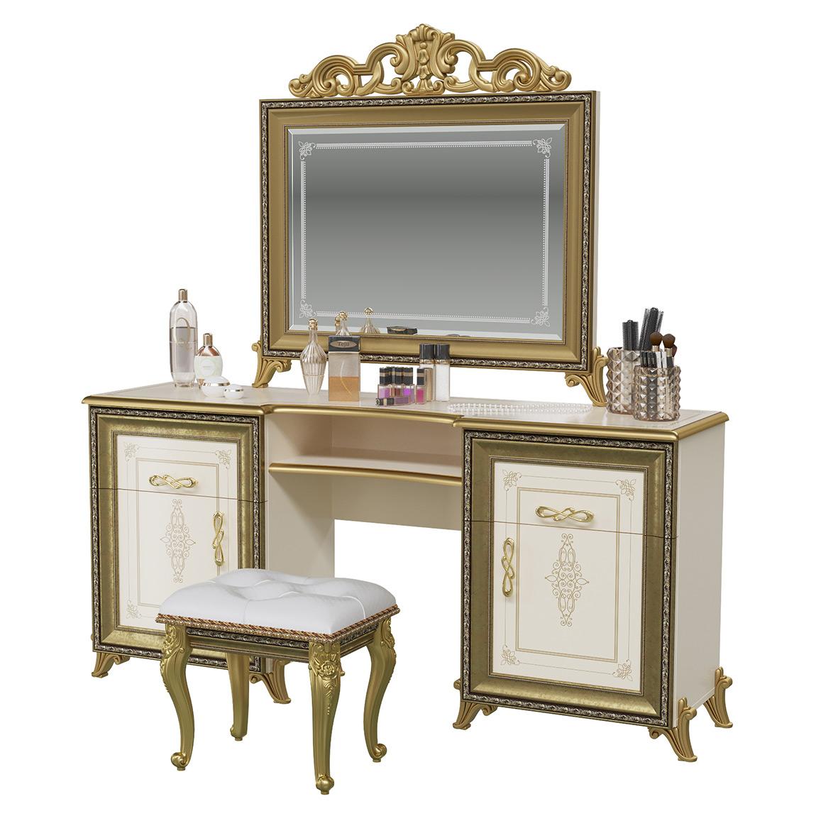 Стол туалетный Мэри-Мебель Версаль СВ-07+СВ-08К+СВ-09 слоновая кость, 167х43х179 фото