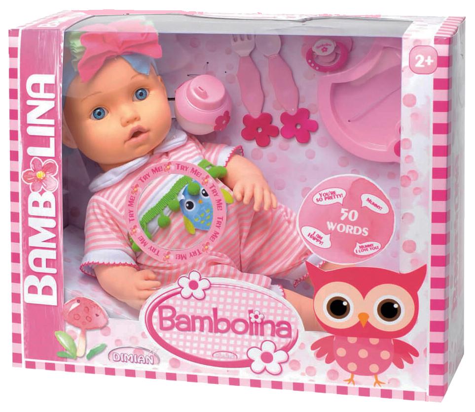 Купить Кукла Dimian Bambina Bebe 42 см с аксессуарами для кормления звуковые эффекты, Классические куклы