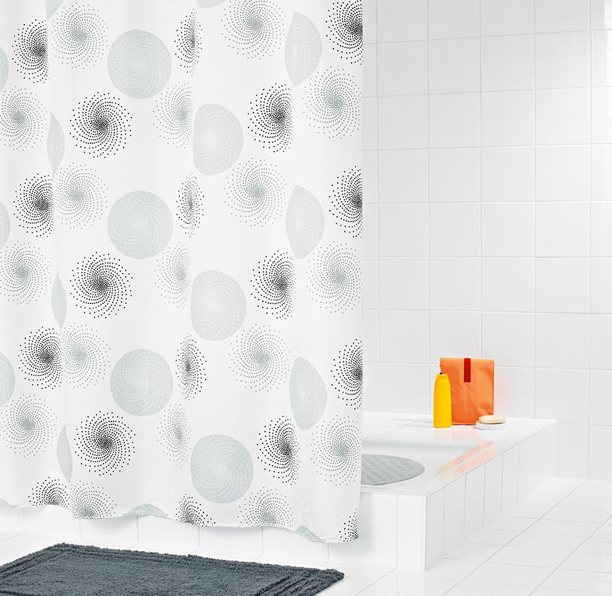 Штора для ванных комнат Hurricane серый/серебряный 180*200