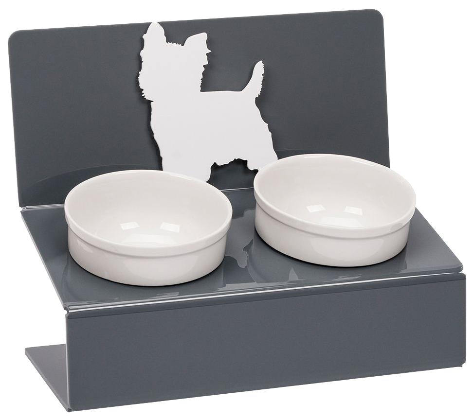 Двойная миска для собак Artmiska, керамика, пластик, белый,