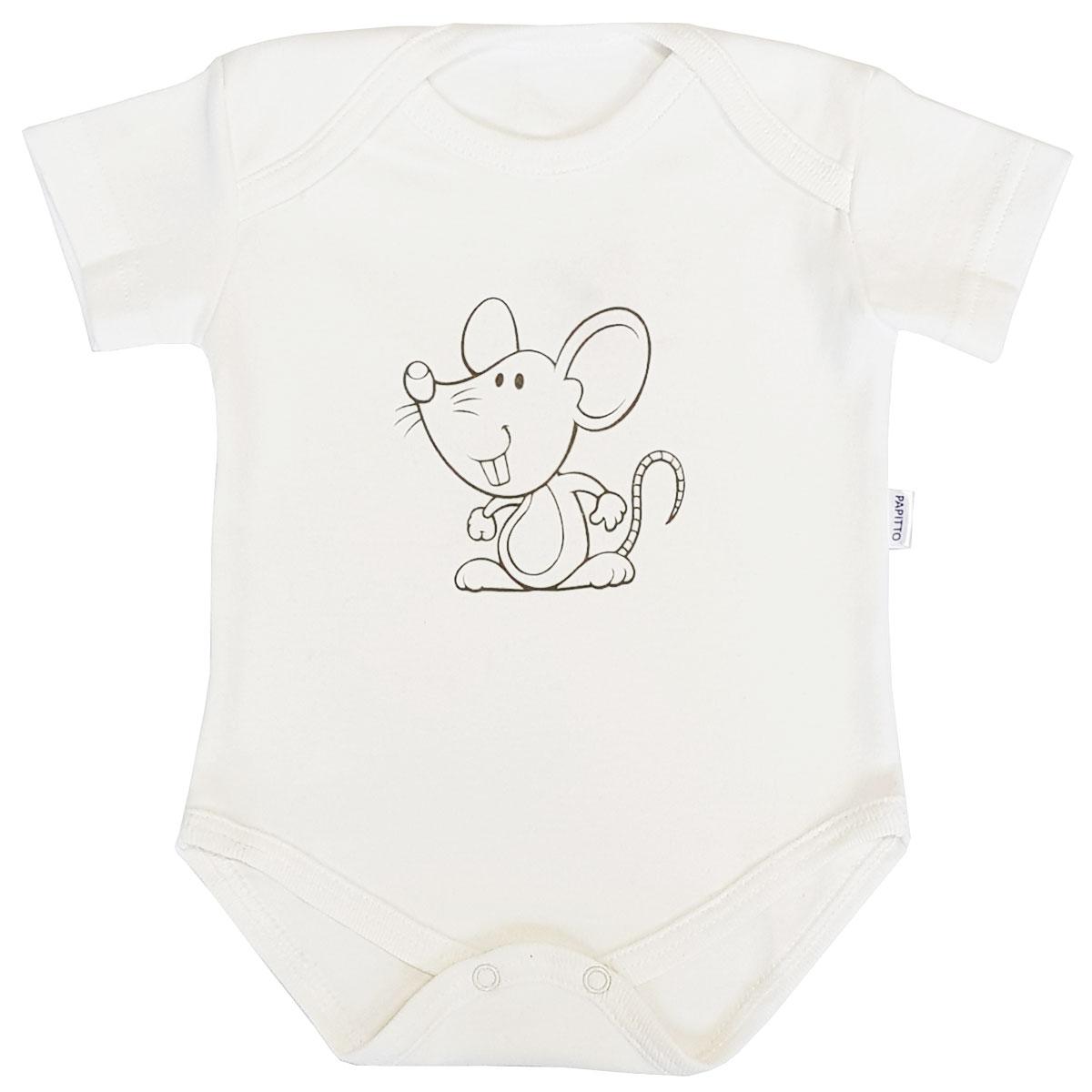 Купить Боди Папитто капелька Мышка, интерлок экрю р.24-86 37-817, Боди и песочники для малышей