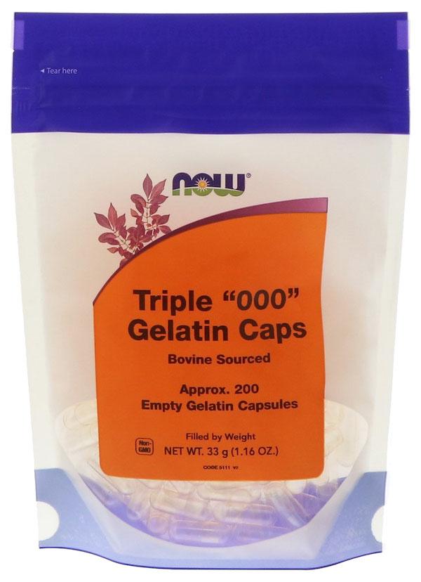 Добавка для здоровья NOW Triple Empty Gelatin 200 капс. натуральный  - купить со скидкой
